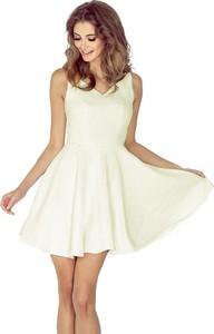 Brązowa sukienka MORIMIA bez rękawów rozkloszowana z dekoltem w kształcie litery v