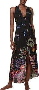Sukienka Desigual bez rękawów maxi z dekoltem w kształcie litery v