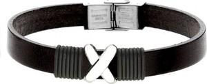 Manoki BA730B czarna bransoletka męska z symbolem X LEATHER