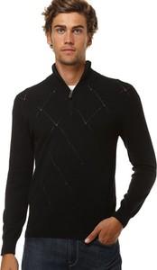 Czarny sweter William De Faye ze stójką z jedwabiu