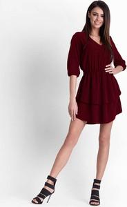 Sukienka Ivon z długim rękawem mini z dekoltem w kształcie litery v