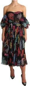 Sukienka Dolce & Gabbana midi z długim rękawem