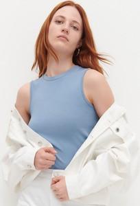 Niebieska bluzka Reserved z okrągłym dekoltem z bawełny w stylu casual