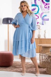 Niebieska sukienka KARKO z tkaniny mini z długim rękawem