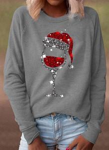 Bluzka Sandbella z bawełny w bożonarodzeniowy wzór z długim rękawem