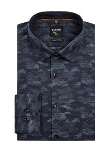 Granatowa koszula Olymp No. Six z bawełny z klasycznym kołnierzykiem
