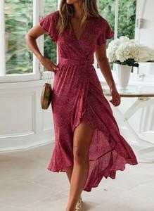 Czerwona sukienka Cikelly z krótkim rękawem maxi kopertowa