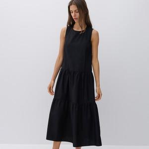 Czarna sukienka Reserved midi trapezowa bez rękawów
