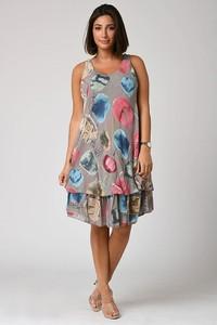 Sukienka Plus Size Fashion bez rękawów mini z okrągłym dekoltem