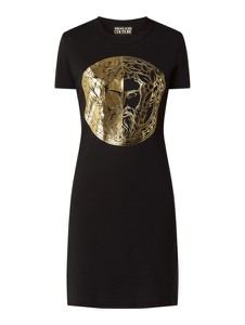 Czarna sukienka Versace Jeans mini z okrągłym dekoltem z krótkim rękawem