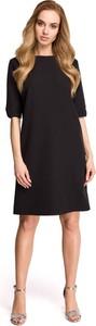 Czarna sukienka Stylove z okrągłym dekoltem z krótkim rękawem