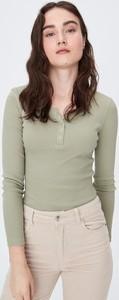 Zielona bluzka Sinsay w stylu casual z bawełny