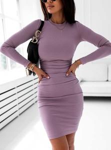 Fioletowa sukienka SELFIEROOM z bawełny z okrągłym dekoltem mini