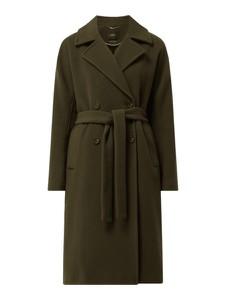 Zielony płaszcz Set z wełny bez kaptura w stylu casual