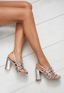 Srebrne sandały renee na słupku ze skóry ekologicznej