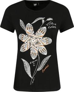 Czarny t-shirt Desigual w młodzieżowym stylu z okrągłym dekoltem