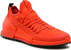 Czerwone buty trekkingowe Ecco sznurowane