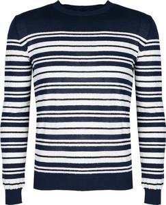 Sweter ubierzsie.com z okrągłym dekoltem z tkaniny w młodzieżowym stylu