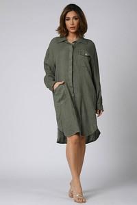 Zielona sukienka Plus Size Company z lnu
