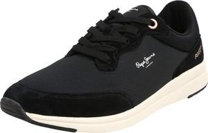 Czarne buty sportowe Pepe Jeans sznurowane ze skóry