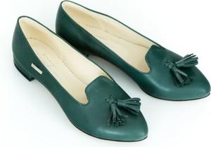 Zielone baleriny Zapato w stylu casual z płaską podeszwą