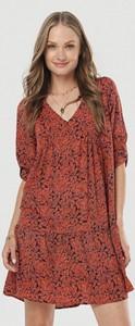 Sukienka born2be w stylu casual z dekoltem w kształcie litery v z długim rękawem