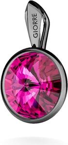 GIORRE SREBRNY WISIOREK SWAROVSKI RIVOLI 925 : Kolor kryształu SWAROVSKI - Fuchsia, Kolor pokrycia srebra - Pokrycie Czarnym Rodem