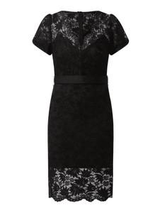 Czarna sukienka Guess z bawełny z krótkim rękawem z dekoltem w kształcie litery v
