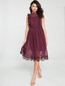 Fioletowa sukienka Ted Baker bez rękawów midi z okrągłym dekoltem