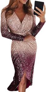 Różowa sukienka Cikelly z długim rękawem kopertowa