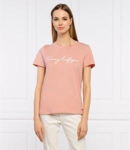 Różowy t-shirt Tommy Hilfiger z krótkim rękawem z bawełny