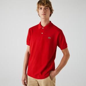 Czerwona koszulka polo Lacoste w stylu casual z krótkim rękawem