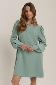 Miętowa sukienka Renee z długim rękawem z okrągłym dekoltem w stylu casual