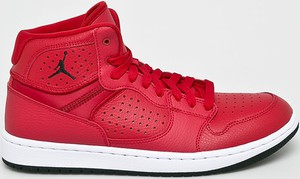 Czerwone buty sportowe Jordan ze skóry sznurowane