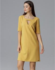 Żółta sukienka Figl mini trapezowa