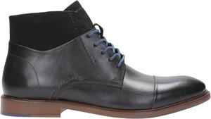 Czarne buty zimowe Wojas ze skóry sznurowane