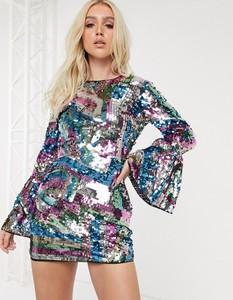 Sukienka Asos Design z okrągłym dekoltem z odkrytymi ramionami z długim rękawem