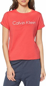 Pomarańczowy t-shirt Calvin Klein z okrągłym dekoltem w stylu casual z krótkim rękawem