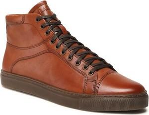 Brązowe buty zimowe Lasocki sznurowane w stylu casual ze skóry