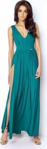 Zielona sukienka Ivon z dekoltem w kształcie litery v