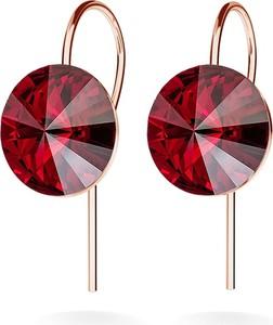 GIORRE SREBRNE KOLCZYKI SWAROVSKI RIVOLI 10MM 925 : Kolor kryształu SWAROVSKI - Siam, Kolor pokrycia srebra - Pokrycie Różowym 18K Złotem
