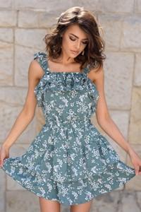Zielona sukienka Popatu bez rękawów mini hiszpanka