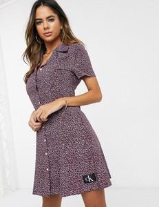 Fioletowa sukienka Calvin Klein szmizjerka mini z krótkim rękawem
