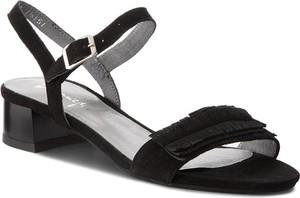 Czarne sandały Maciejka na obcasie z zamszu na niskim obcasie