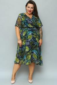 Sukienka KARKO z dekoltem w kształcie litery v z krótkim rękawem z szyfonu