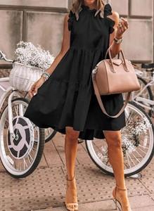Czarna sukienka Cikelly mini z bawełny