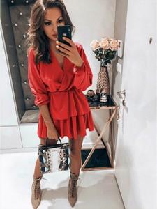 Czerwona sukienka magmac.pl mini z długim rękawem