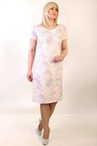 Sukienka Oscar Fashion midi dla puszystych w geometryczne wzory