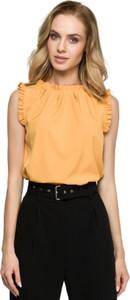 Żółta bluzka Style z długim rękawem z okrągłym dekoltem