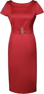 Czerwona sukienka Fokus ołówkowa z krótkim rękawem